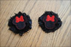 Minnie Mouse Clips RED or PINK perfect for pigtails by MadiMosBows, $8.00 www.madimosbows.etsy.com