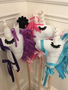 Kids DIY party craft! Unicorn on a stick! Lots of fun filling and bringing these unicorns to life! It's a great idea for a party favor! Visit our page for more info!