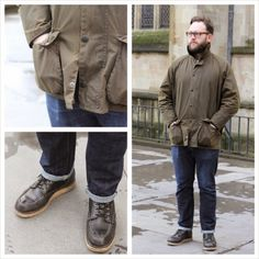 Mens wear - Street Style - Barbour Wax jacket, Edwin jeans, Red Wing boots, hipster style