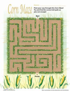 No autumn is complete without a corn maze adventure! Build motor and logic skills with this fall maze.