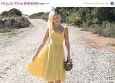 20% OFF SUMMER SALE Vintage 50s Dress / 1950s Party Dress / Yellow Sheer Party Dress w/ Sequins Xs