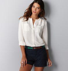 Button front utility blouse - ann taylor loft. $49.50
