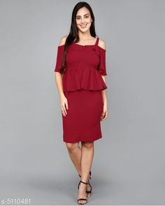 Dresses Women's Solid Maroon Cotton Blend Dress Fabric: Cotton Blend Sleeve Length: Short Sleeves Pattern: Solid Multipack: 1 Sizes: S (Bust Size: 36 in Length Size: 38 in) Country of Origin: India Sizes Available: S, M, L, XL   Catalog Rating: ★4.3 (501)  Catalog Name: Sana Modern Women's Dresses CatalogID_753721 C79-SC1025 Code: 205-5110481-
