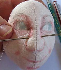 JF DOLLS CREATION: Otra forma de esculpir con aguja una cara de muñeca de tela. Parte 2