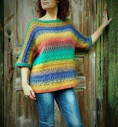 Handknit Gradient Multicolor Sweater Eco Wool Colorful Warm