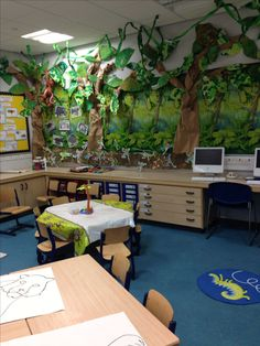 Jungle wall display Class Displays, School Displays, Library Displays, Classroom Decor Themes, Classroom Setup, Classroom Displays, Rainforest Classroom, Rainforest Theme, Dinosaur Display