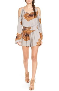 Sun & Shadow Sun & Shadow Floral Print Cold Shoulder Romper available at #Nordstrom