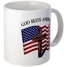 God Bless American With US Flag and Rugged Cross  Mug    •   This design is available on t-shirts, hats, mugs, buttons, key chains and much more   •   Please check out our others designs at: www.cafepress.com/TsForJesus