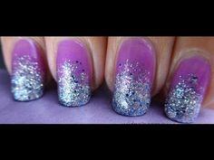 Violet Glitter Nails Nail Art Tutorials - http://nailart-gallery.com/2016/01/violet-glitter-nails-nail-art-tutorials/