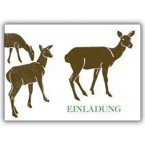 Einladungskarte mit Rehen zur Jagd, zum Wildessen oder zum Wald Spaziergang