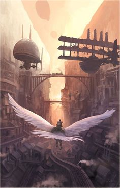 Steampunk world with giant eagles