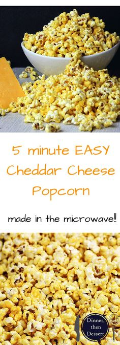 Easy Homemade Cheddar Cheese Popcorn! Just like the kind you buy in tins at Christmas. The best part is it takes just five minutes to make and is done 100% in the microwave!