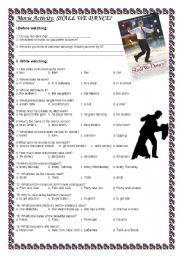 English worksheet: Movie Activity: Shall We Dance?