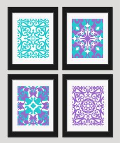 Purple Turquoise Art Bedroom Art Set of 4  8x10 by inkandnectar, $45.00