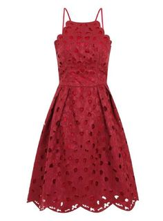 Chi Chi London Red Laser Cut Midi Dress on ShopStyle.