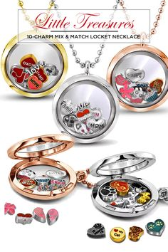 Little Treasures 10-Charm Mix & Match Locket Necklace - Assorted Styles for only $10 on Nomorerack!  Save 90% off Retail!