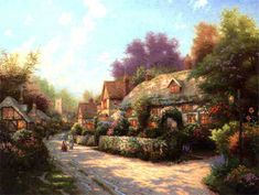 Cobblestone Village ~ Thomas Kinkade