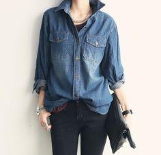 Denim Shirt on Denim Jean xx Denim Fashion, Look Fashion, Hijab Fashion, Trendy Fashion, Korean Fashion, Autumn Fashion, Fashion Outfits, Womens Fashion, Petite Fashion