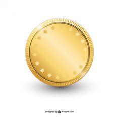 Vector moneda de oro brillante. Vector gratis.