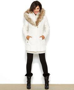 Betsey Johnson Hooded Lace-Up Puffer Coat