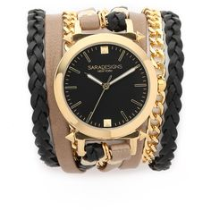 Sara Designs Urban Spike Wrap Watch ($215) ❤ liked on Polyvore featuring jewelry, watches, spike jewelry, 14k jewelry, 14k gold plated jewelry, bezel watches and gold plated jewelry