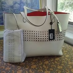 Pearly white Leighton optic white Ralph Lauren tote that comes with wristlet. Bags Totes