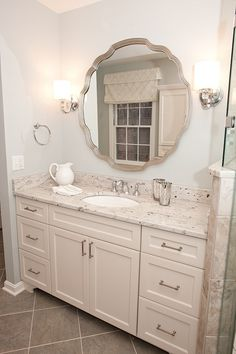 Tuscan Blue Design | Spa-Like Master Bathroom - River or Kashmir White granite with bluish gray wall