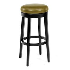"""Armen Living Mbs-450 26"""" Backless Swivel Barstool in Wasabi Bonded Leather  Striking wasabi colored leather tops this 26 inches high backless swivel barstool with black wood finish legs."""