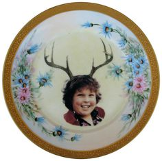 Deer Ol' Chunk Portrait   Altered Vintage Plate by BeatUpCreations
