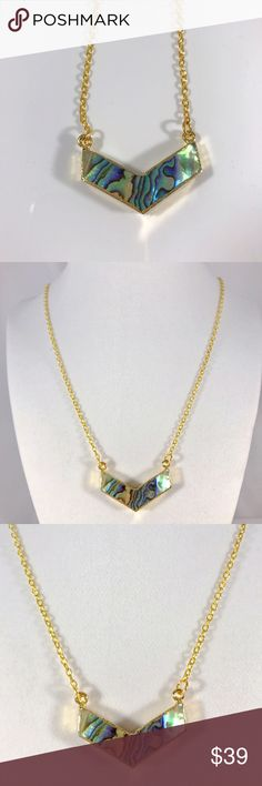 """🆕⭐️Gorgeous natural abalone shell necklace Gold plated v shape boho natural abalone seashell. Material- natural abalone shell. Stone size- 34-36x17-21mm. Color- rainbow/ gold. Chain size about 25"""" Rad Crafty Jewelry Necklaces"""