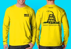 """Our """"Don't Tread on Me shirt is actually in Neon Yellow with snake and verse on back and an american flag on front. Hook & Hunt logo's on back and sleeve. Made in the USA.  Please like & share us on facebook. http://facebook.com/hookandhuntoutdoor"""