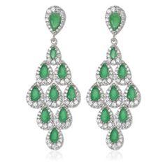 4a61abcee2f9 Pendientes de plata de primera ley con circonitas de color verde esmeralda  y con cierre de