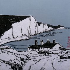 Seven Sisters, East Sussex. Silk screen, appliqué and hand stitching. Free Motion Embroidery, Sewing Art, East Sussex, Brighton, Sisters, Sketches, Textiles, Canvas, Gallery