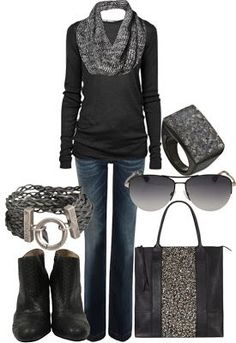 Sleek, edgy modern pieces intermix with softer ones to create a fabulous look! With flats though