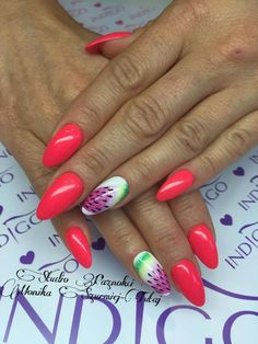 by Monika Szurmiej Tutaj Indigo Young Team :)  Follow us on Pinterest. Find more inspiration at www.indigo-nails.com #nailart #nails #indigo #watermelon #arte #gel  #red #summer #fruits