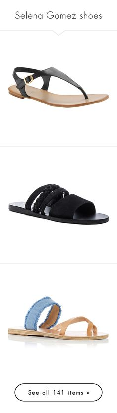 """""""Selena Gomez shoes"""" by marilia13 ❤ liked on Polyvore featuring shoes, sandals, black, flats, selena gomez, aldo sandals, t-strap flats, black leather shoes, black sandals and black flat shoes"""