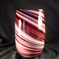 Art Glass Vase-Murano Glass Handmade Swirled Purple-Large Blown Glass Flower Vase by BCScollectibles on Etsy Venetian Glass, Murano Glass, Glass Flower Vases, Purple Hands, Decoration, Art For Sale, Glass Art, Bubbles, Cabin Fever