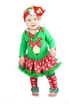 Reindeer Christmas Tutu Outfit with Snowflake Leg Warmers by babyOclothing on Etsy https://www.etsy.com/listing/209534055/reindeer-christmas-tutu-outfit-with
