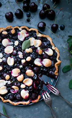 cherry and huckleberry pie.