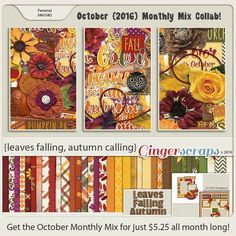 October 2016 Monthly Mix at the Ginger Scraps Store! This Monthly Mix is Leaves Falling, Autumn Calling, with lots of Brown Yellow and Green colors to cherish moments captured just before the Winter! On Sale for only $5.25 through September! Leaves Falling, Autumn Calling; http://store.gingerscraps.net/Monthly-Mix-Leaves-Falling-Autumn-Calling.html. 10/26/2016