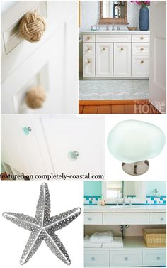 Dress up a furniture piece or wall cabinet with coastal nautical knobs and pulls. Here are a few inspiring ideas and sources whe. Coastal Bathroom Decor, Beach House Bathroom, Beach Theme Bathroom, Nautical Bathrooms, Beach Bathrooms, Bathroom Spa, Bathroom Ideas, New Toilet, Hardware