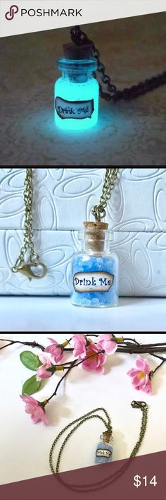 """Glow in the Dark Drink Me Necklace Adjustable glow in the dark """"Drink Me"""" corkscrew bottle necklace. Cute jewelry for anyone to wear! My young nieces love glow in the dark necklaces! To activate the glow, you must shine a bright light directly on it for two minutes then turn it over to the other side and shine a light directly on it for one minute. Brand new! Total chain length approximately 10 3/8 inches long. Reasonable offers welcome! Bundle and save! Jewelry Necklaces"""