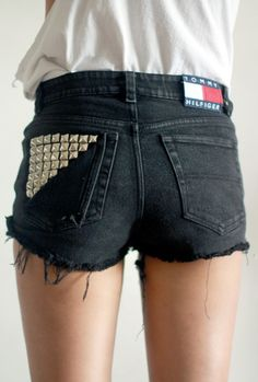 black cut-off high-waisted denim shorts with metal studs detail