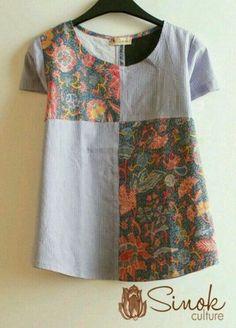 Ideas for patchwork clothes fashion ideas style Blouse Batik, Batik Dress, Kurta Designs, Blouse Designs, Diy Clothes, Clothes For Women, Sewing Blouses, Batik Fashion, Shirts & Tops