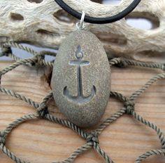 Anchor Away - Engraved Beach Stone Pendant - the Ocean Lover's necklace