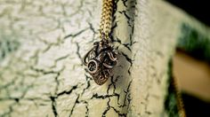 Steampunk heart  - Mechanical -Anatomy - silver chain - box- brass