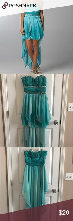 Sequin Hearts High Low Prom Dress Only worn once, size 5! Color is true to the pictures of the dress hanging up. Slight stitching discoloration as shown in picture, not noticeable when wearing! Sequin Hearts Dresses Prom