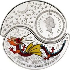 Fiji $1 Silver Proof 2012 Dragon coin | lunaticg banknote & coin