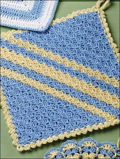 Crochet - For the Home - Kitchen Decor - Diagonal Shells Pot Holder - #FC00945