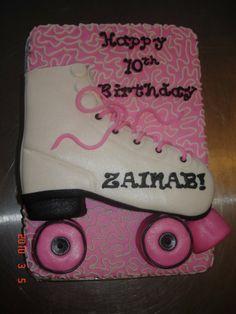 Roller Skate on Cake.note glitter on skate 21st Birthday Cake Toppers, Birthday Cake Pictures, Cupcake Birthday Cake, Birthday Cake Decorating, Cool Birthday Cakes, Girls 9th Birthday, 9th Birthday Parties, Cat Birthday, Roller Skating Party